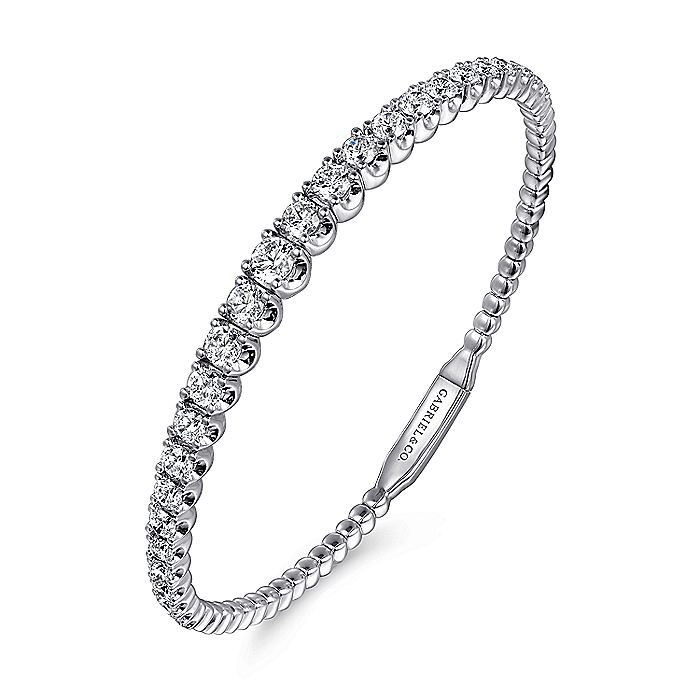 14K White Gold Graduating Diamond Bangle