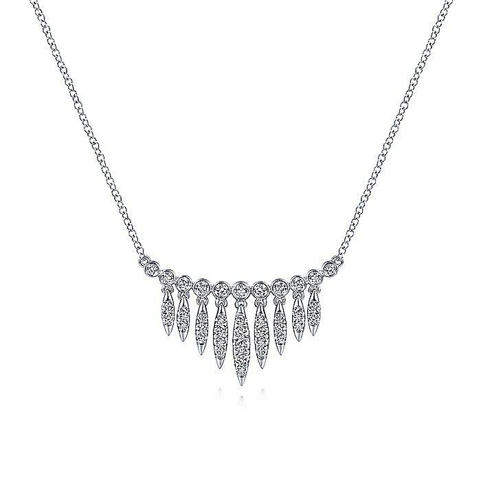 14K White Gold Graduating Diamond Bib Necklace