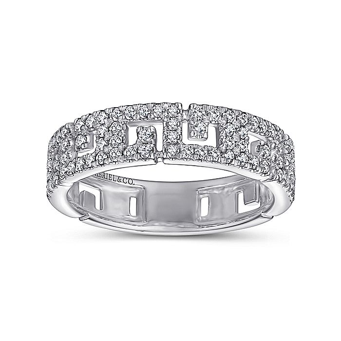 14K White Gold Greek Key Diamond Band