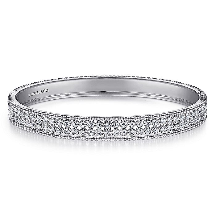 14K White Gold HInged Diamond Bangle