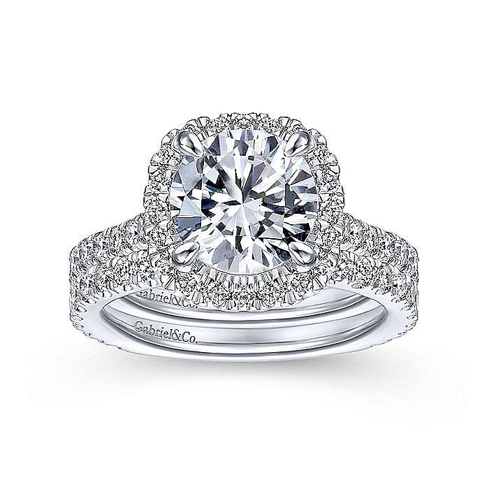 14K White Gold Halo Cushion Halo Round Diamond Engagement Ring