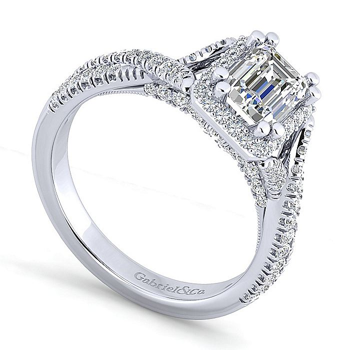 14K White Gold Halo Emerald Cut Diamond Engagement Ring