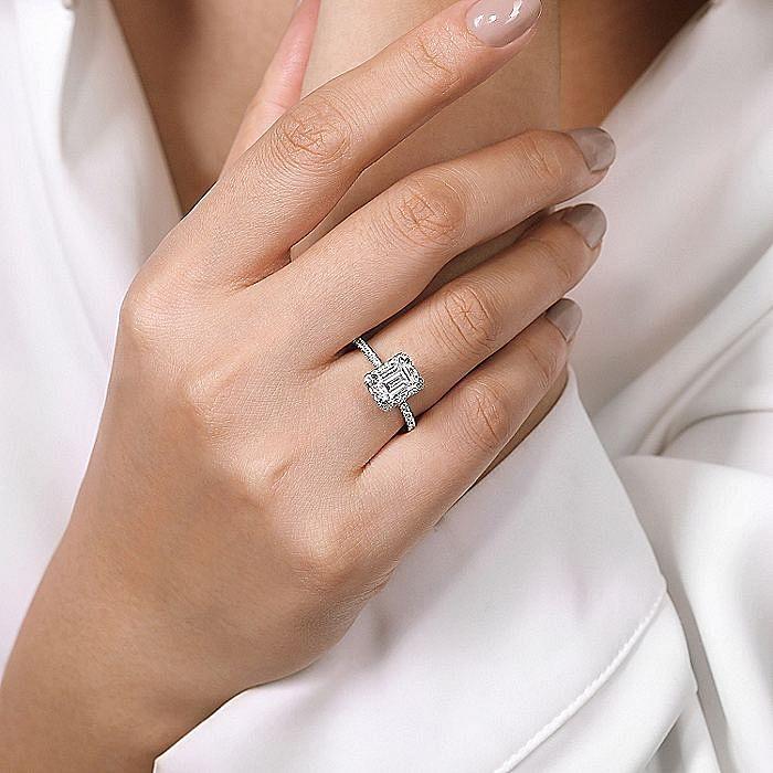 14K White Gold Halo Emerald Cut Diamond Engagement Ring