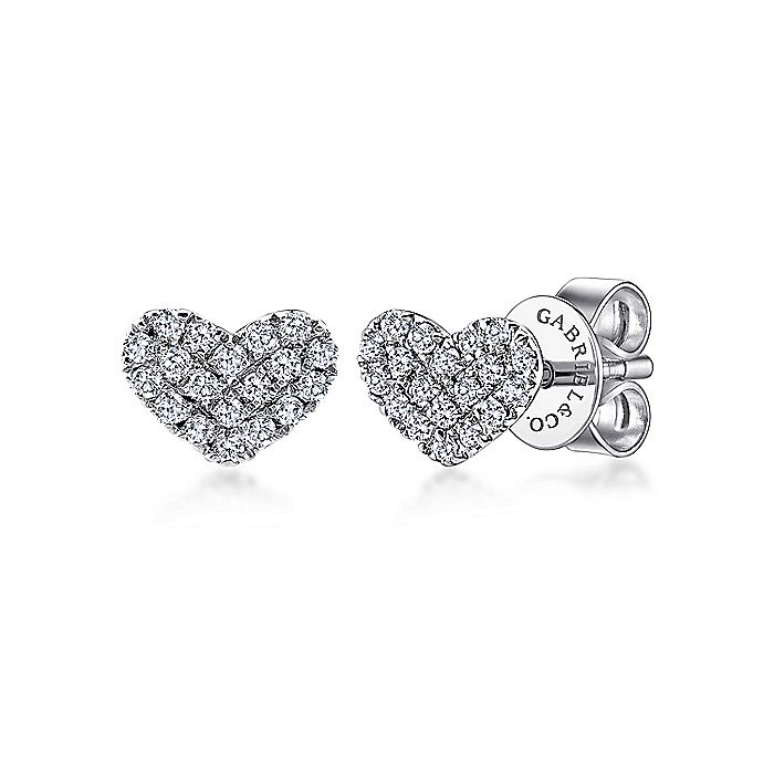 14K White Gold Heart Shaped Pavé Diamond Stud Earrings