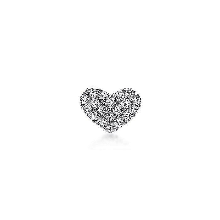 14K White Gold Heart Shaped Pavé Diamond Stud Single Earring