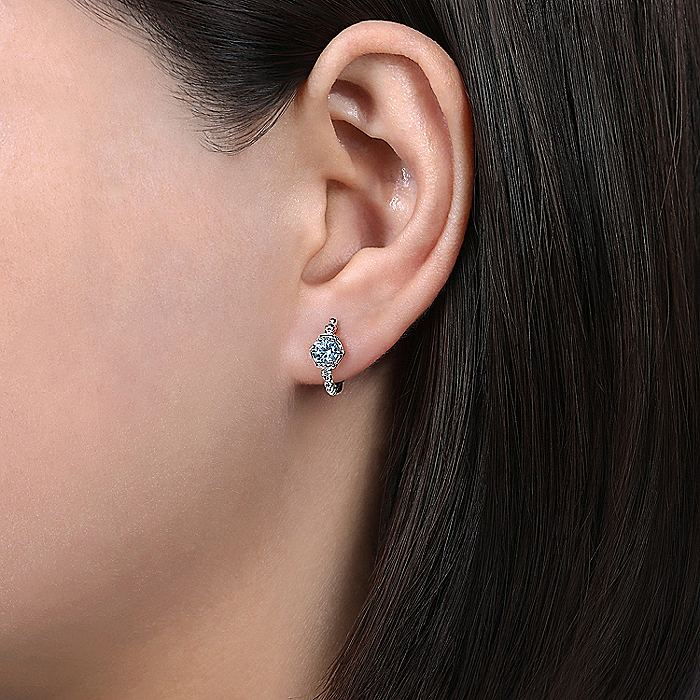 14K White Gold Hexagonal Aquamarine and Diamond Hoop Earrings