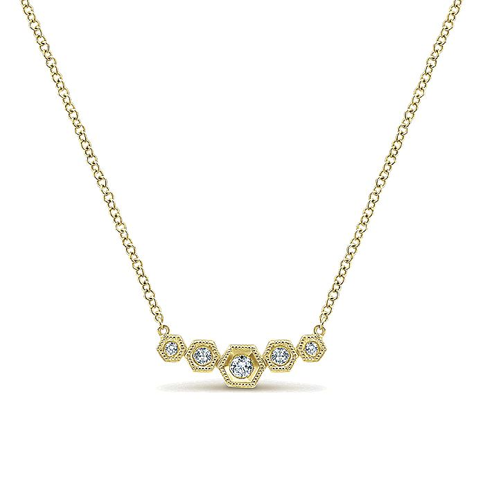 14K White Gold Hexagonal Diamond Bar Necklace