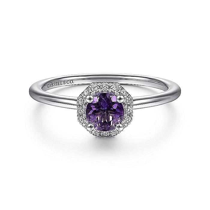 14K White Gold Hexagonal Diamond Halo and Round Amethyst Ring