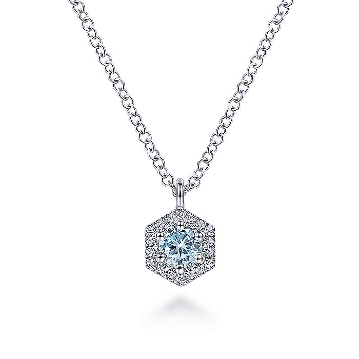 14K White Gold Hexagonal Halo Aquamarine and Diamond Pendant Necklace