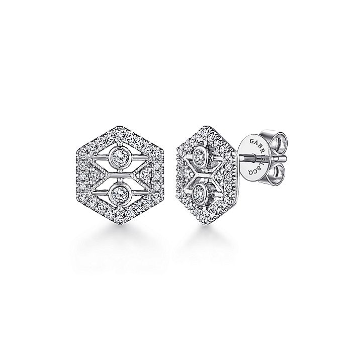 14K White Gold Hexagonal Open Diamond Stud Earrings