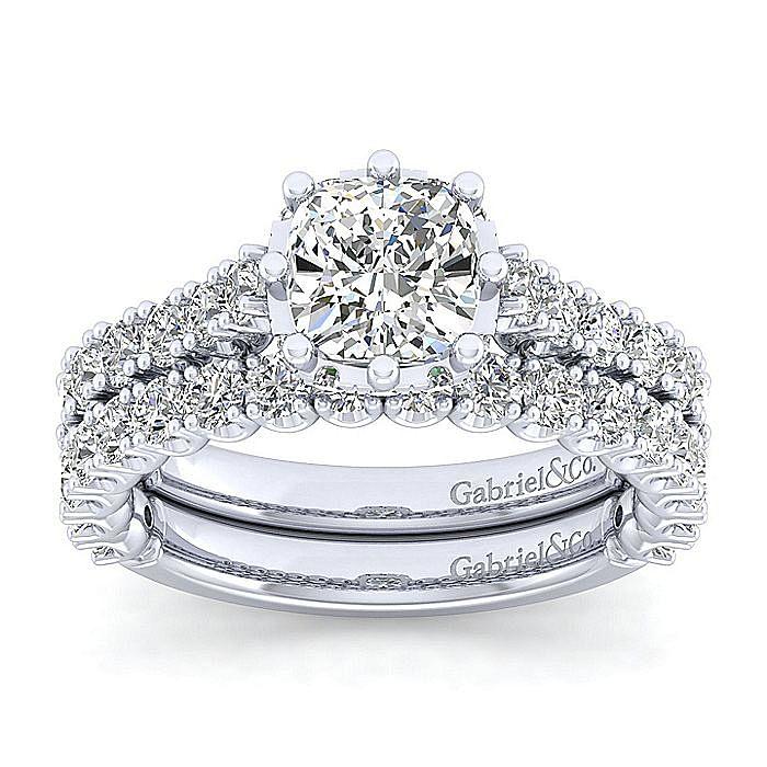 14K White Gold Hidden Halo Cushion Cut Diamond Engagement Ring