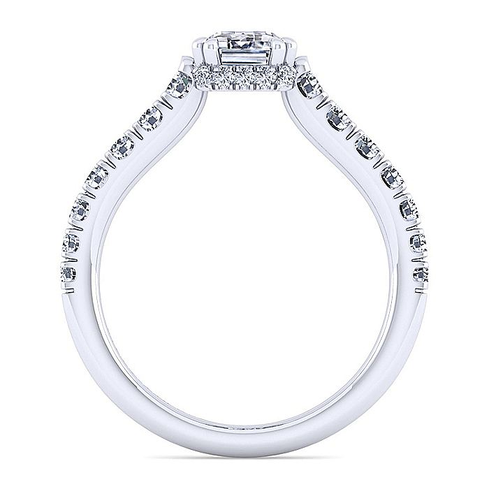 14K White Gold Hidden Halo Emerald Cut Diamond Engagement Ring