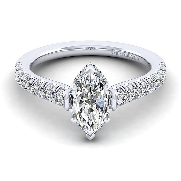 14K White Gold Hidden Halo Marquise Shape Diamond Engagement Ring