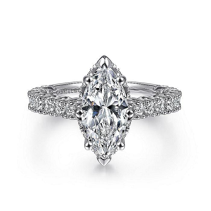 14K White Gold Hidden Halo Marquise Shape Diamond Engagement Ring