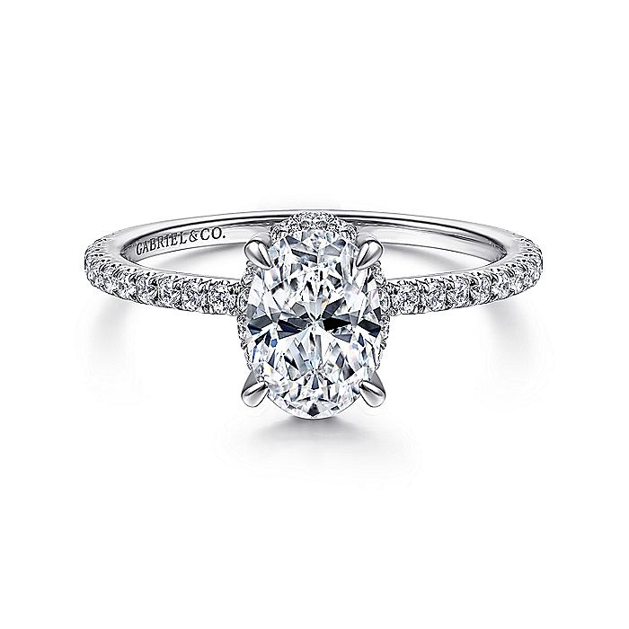 14K White Gold Hidden Halo Oval Diamond Engagement Ring
