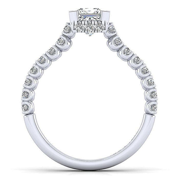 14K White Gold Hidden Halo Princess Cut Diamond Engagement Ring