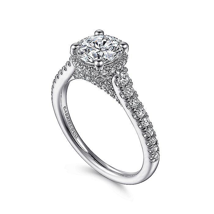 14K White Gold Hidden Halo Round Diamond Engagement Ring