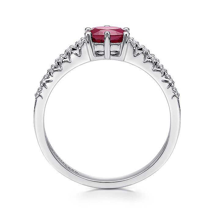 14K White Gold Horizontal Oval Ruby and Diamond Ring