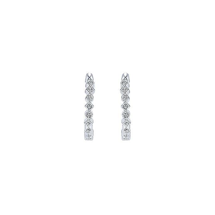 14K White Gold Huggie Alternating Square & Round Diamond Huggies