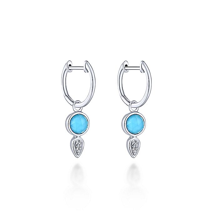 14K White Gold Huggies with Rock Crystal/Turquoise and Diamond Drops