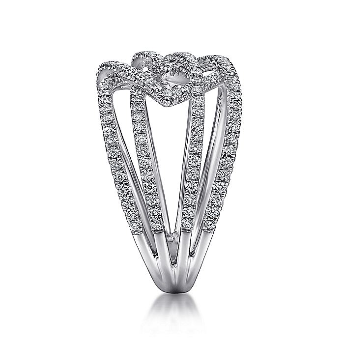 14K White Gold Intersecting Multi Row Pavé Diamond Ring