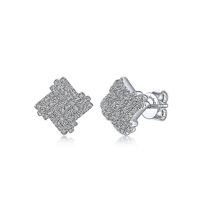 14K White Gold Interwoven Diamond Rows Stud Earrings