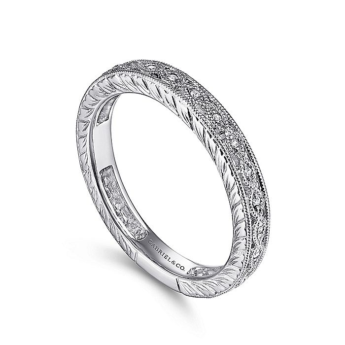 14K White Gold Intricate Cutout Stackable Diamond Ring