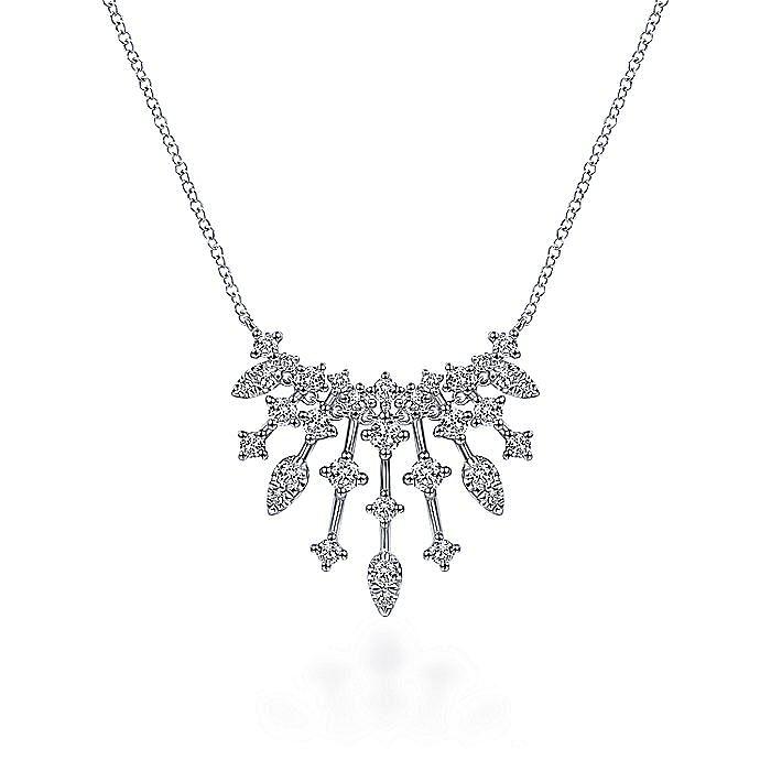 14K White Gold Intricate Diamond Fan Necklace