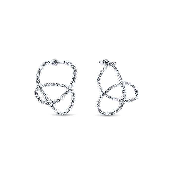 14K White Gold Intricate Twisted 25mm Diamond Hoop Earrings