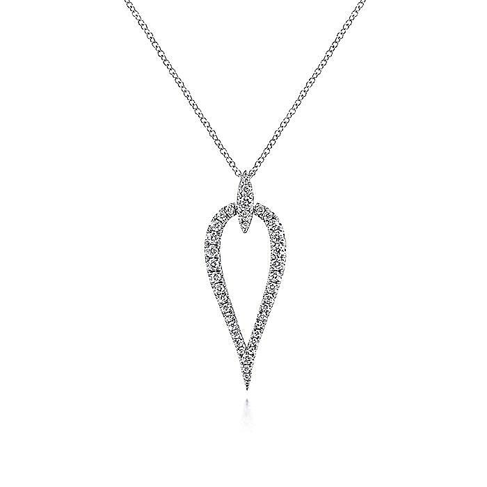 14K White Gold Inverted Diamond Teardrop Pendant Necklace