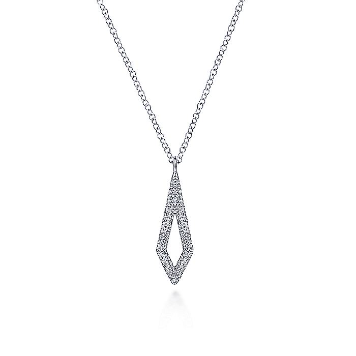 14K White Gold Inverted Kite Diamond Pendant Necklace