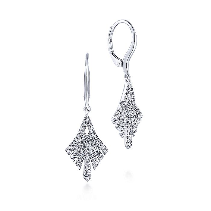 14K White Gold Kite Shape Diamond Fan Drop Earrings
