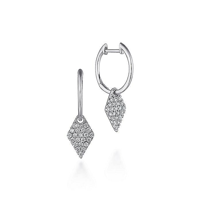 14K White Gold Kite Shaped Diamond Drop Earrings