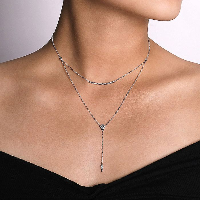14K White Gold Layered Curved Bar and Diamond Drop Y Necklace