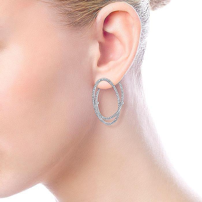 14K White Gold Layered Double 35mm Diamond Intricate Hoop Earrings