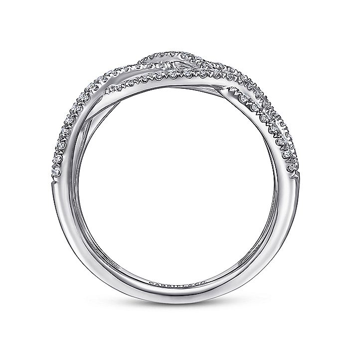 14K White Gold Layered Grid Diamond Ring