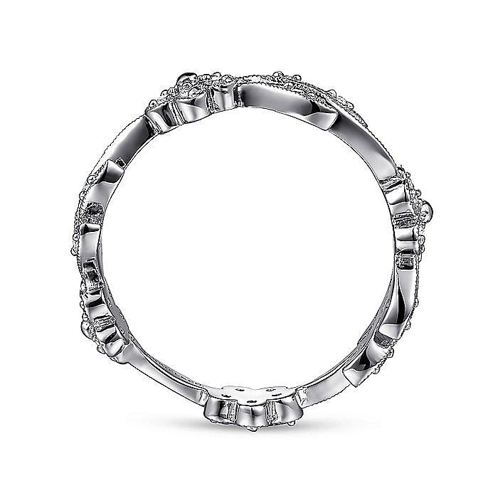 14K White Gold Leaves Diamond Ladies Ring