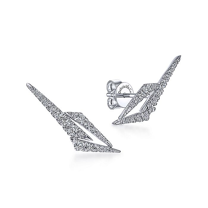 14K White Gold Lightning Diamond Stud Earrings