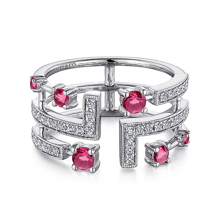 14K White Gold Linear Wide Band Diamond and Ruby Ring