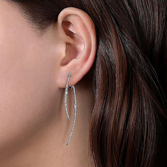 14K White Gold Long Bypass Bars Diamond Huggie Drop Earrings