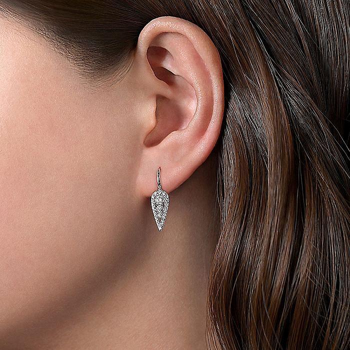 14K White Gold Long Cluster Teardrop Leverback Diamond Earrings