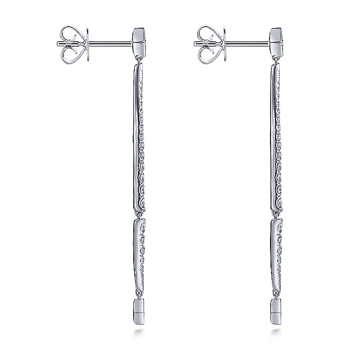 14K White Gold Long Diamond Bar Drop Earrings