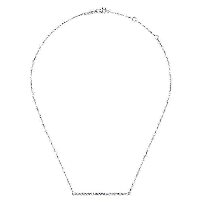 14K White Gold Long Diamond Bar Necklace