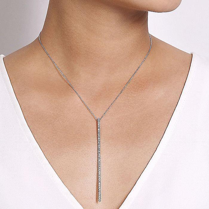 14K White Gold Long Diamond Bar Pendant Necklace