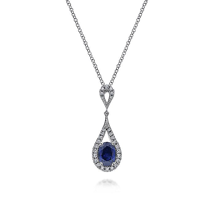 14K White Gold Long Oval Sapphire and Diamond Pendant Necklace