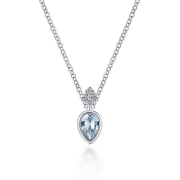 14K White Gold Manmade Aquamarine Pendant Necklace with Diamond Accents