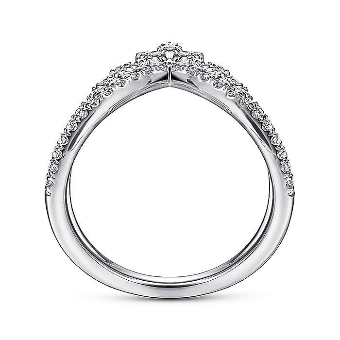 14K White Gold Marquise Cluster Diamond Double V Ring