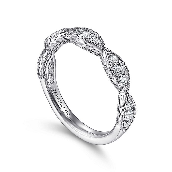 14K White Gold Marquise Diamond Cluster Stackable Ring