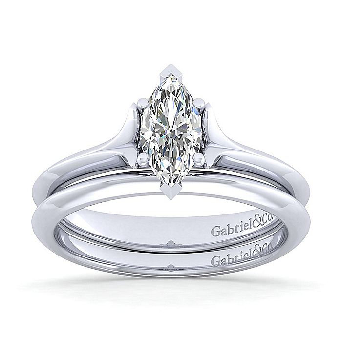 14K White Gold Marquise Diamond Engagement Ring
