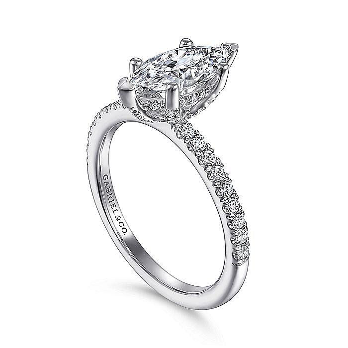 14K White Gold Marquise Diamond Engagement Ring